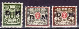 Danzig Dienstmarken 1921 Mi 37; 39-40 * [190113Stk] @ - Danzig