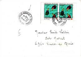 LSI 2818 Croix Rouge Paire De Carnet Octeville-Annexe Donville Barres De Tri - 1961-....