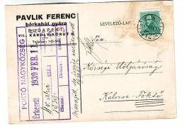 Hungary,company Letter Card 1939 Ferenc Pavlik Leather Coats Factories - Textile