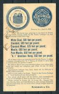1893 USA Preoria Kingman & Co Rope Company Advertising Stationery Card