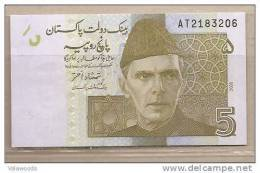 Pakistan - Banconota Non Circolata Da 5 Rupie - 2008 - - Pakistan