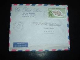 LETTRE PAR AVION TP COQUILLAGE RANELLA SPINOSA 40F OBL. 23-1-1976 DJIBOUTI + ENTETE ETQ PETIT PARIS - Afars Et Issas (1967-1977)