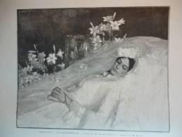 Une Bienheureuse , Jolie Jeune Fille Sur Sont Lit De Mort , Gravure Baude D'aprés Courtois 1889 - Documenti Storici