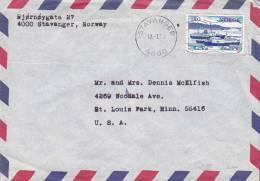 Norway Airmail Par Avion STAVANGER 1978 Cover Brief To St. LOUIS PARK, Minn. USA Schiff Ship Franking - Briefe U. Dokumente