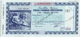 BUONO POSTALE FRUTTIFERO /  LIRE 5.000.000 - Annullato - Azioni & Titoli