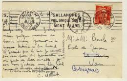 """RBV - """" SALLANCHES / VUE UNIQUE SUR LE / MONT BLANC """" - """" SALLANCHES / HAUTE SAVOIE /  15 SEPT 52 """" - Réf. SAL604 - Marcofilie (Brieven)"""