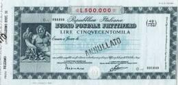 BUONO POSTALE FRUTTIFERO /  LIRE 500.000 - Annullato - Azioni & Titoli
