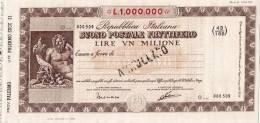 BUONO POSTALE FRUTTIFERO /  LIRE 1.000.000 - Annullato - Azioni & Titoli