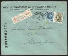 (J360) Belgique - N°208 (Houyoux) + 280 (Lion Héraldique) Sur Recommandé Du 7/2/1930 De Bruxelles à Hooglede - 1922-1927 Houyoux