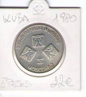 CUBA 5 Pesos   SILVER COIN  1980     XXII  OLIMPIADA  MUNDIAL   MOSCU  80 - Cuba