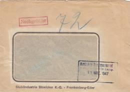 Geschäftsbrief, Stempel: Nachgebühr, Handschrftl. 72 (Pfg.), 18.MRZ 1947, Stuhlindustrie Stoelker, Frankenberg-Eder - Bizone