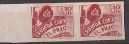 CCF22-LM45TAN.Spain.Espane .BENEFICENCIA.CRUZADA CONTRA EL FRIO.1936.(Galvez 22s*)  Par Con Charnela .Marquillado..RAROS - 1931-Hoy: 2ª República - ... Juan Carlos I