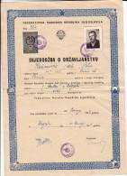 H CERTIFICATE OF CITIZENSHIP FNRJ JUGOSLAVIA ZAGREB CROATIA - Historical Documents