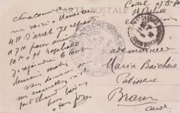 MARQUE MILITAIRE CACHET MARCOPHILIE  SERVICE DES CHELMINS DE FER MILITAIRE MARSEILLE  1916  CHEMIN DE FER - Poststempel (Briefe)