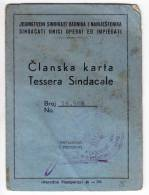 H MEMBERSHIP CARD FOR UNION OF WORKERS AND EMPLOYEES FNRJ JUGOSLAVIA ZAGREB CROATIA - Historical Documents