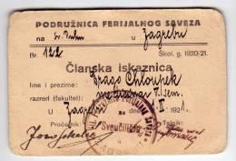 H MEMBERSHIP CARD YUOTH UNION BRANCH KINGDOM OF SERBS, CROATS AND SLOVENAS SHS ZAGREB CROATIA - Historical Documents