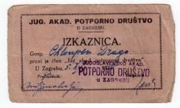 H IDENTITY CARD FOR YUGOSLAVIAN ACADEMIC SUPPORTIVE ASSOCIATION ZAGREB CROATIA SHS - Historical Documents