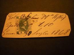1870 - Marca Di Riscontro Da L. 1, Usato Su Frammento, Ampi Margini, Raro - Steuermarken