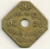 1920 Lyon -  25 Cent O.T. L. Transport  Token - Altri