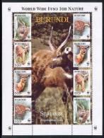 BURUNDI   774E X 2  WWF  MINT NEVER HINGED MINI SHEET OF WILDLIFE & ANIMALS ; DEER ; SITATUNGA - W.W.F.