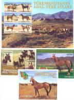 2001. Horses Of Turkmenistam Sheetlet + 3 S/s, Mint/** - Turkmenistán