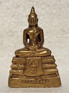 THAILAND: Fine Thai Gilt Small Bronze Buddha Figurine - Asian Art