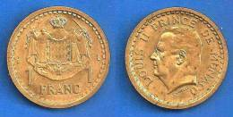 Monaco 1 Franc 1945 Frcs Frc Francs Cents Centimes Skrill Paypal OK - 1922-1949 Louis II