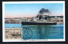 """Col.fr. Algérie -carte Maximum :départ Du Paquebot """"ville D'Alger"""" Le 03/05/1940 - Cartes-maximum"""