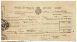 B13D-DOCUMENTO FISCAL  MURCIA CARAVACA IMPUESTOS TASAS.MORATALLA. SPAIN REVENUE FISCAUX.1896 BUEN ESTADO CON SELLO FISC - Manuscritos