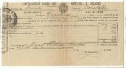 B13E-DOCUMENTO FISCAL  MURCIA CARAVACA IMPUESTOS TASAS.MORATALLA. SPAIN REVENUE FISCAUX.1902 BUEN ESTADO CON SELLO FISC - Manuscritos