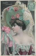 FEMME - FRAU - LADY - Jolie Carte Fantaisie Avec Dorures Portrait Femme Artiste - DEBIERRE - PARISIANA - Women