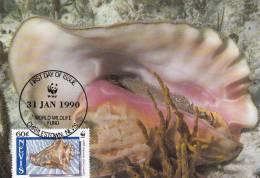 WWF - 091,33 - CM-MC - € 1,12 - 31-1-1990 - 60c - Queen Conch - Nevis 1086212 - St.Kitts-et-Nevis ( 1983-...)