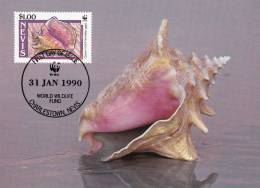 WWF - 091,34 - CM-MC - € 1,19 - 31-1-1990 - $1,00 - Queen Conch - Nevis 1086212 - St.Kitts-et-Nevis ( 1983-...)