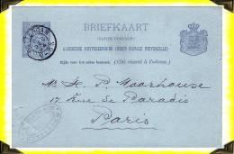 1894  -   Entier Postal Posté à Rotterdam Pour Paris Par JH Claus - Holland - Postal Stationery