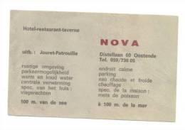 """OOSTENDE - OSTENDE - Carte De Visite - Hôtel-Restaurant """"NOVA"""" - Cartes De Visite"""