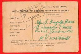 PRIGIONIERI DI GUERRA- POW ARMY FORM- PER S. DONA' DI PIAVE-VENEZIA - Guerra 1939-45