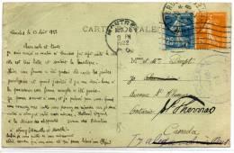 FRANCE - SEMEUSE CAMÉE - N° 140 + 158 / CPA DE LOURDES, LE 13/8/1922 POUR CANADA - TB - France