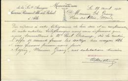 ATH  Sucreries Reunies D'ATH Et De BELOEIL   MEMORANDUM  ..  ...19.04.1921 - Belgique