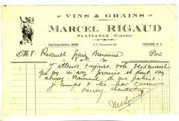 PLAISANCE - Vienne - Marcel RIGAUD  -  Vins,  Grains , - Agriculture