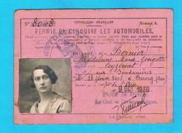 Permis De Conduire Les Automobiles 1930 Tampon Prefecture De L Ain - Voitures