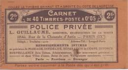 France - Couverture De Carnet Vide - S11, Police, Privé, Détective, Assurances, Dentelles, Courmont, Carnets, Timbres - Usage Courant
