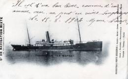 """Transports > Bateaux > Paquebots Compagnie De Navigation Mixte """"paquebot Poste LA MARSA"""" - Steamers"""
