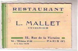 75 PARIS 9e - CARTE DE VISITE - L. MALLET CUISINIER 6 RESTAURANT 32 Rue De La Victoire Tél TRUdaine 27608 - Cartes De Visite
