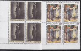 N° 2692 Et 2693 Série Artistique: 2 Blocs De 4 Timbres: La Balançoire De Renoir, Le Noeud Noir De Seurat - Unused Stamps