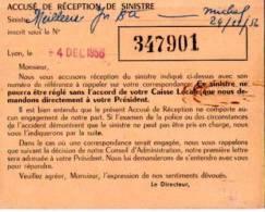 CAISSE REGIONALE ACCIDENTS DU SUD -EST- ACCUSE DE RECEPTION DE SINISTRE - Old Paper