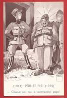 Y0146 Minouvis 1939 Militaire Père 1914 Et Fils 1939. Grenzbesetzung,occupation Frontières. - Illustrators & Photographers