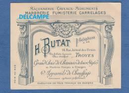 - TROYES - Marbrerie Fumisterie H BUTAT 14 Rue Juvénal Des Ursins - Cheminée - Publicidad