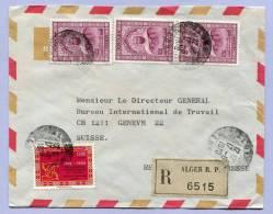 Air Mail Registered Letter ALGERIEN To GENEVA GENF 1970 (853) - Algerien (1962-...)