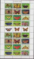 Nederlandse Antillen, 2009, Butterflies, Sheet Of 24 Stamps, MNH, *** - Vlinders