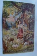 Jolie CPA - Jeune Bergère Avec Ses Moutons Et Son Chien - J K Hanger B2095 - Scenes & Landscapes